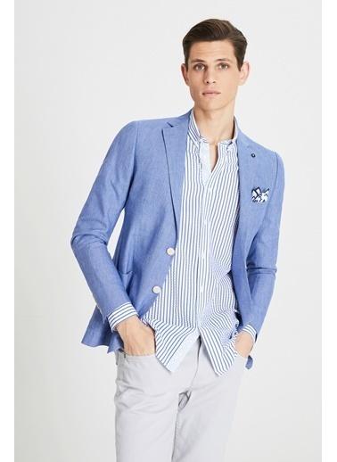 Tween Slim Fit Desenli Kumaş Ceket Saks